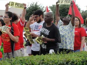 Working people stand up for immigrants on May day 2012 in Houston